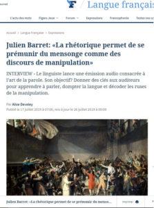Entretien de Julien Barret paru dans le Figaro en juillet 2019 sur l'art oratoire