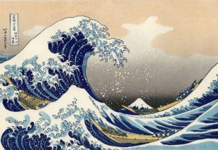 La Grande Vague de Kanagawa de Hokusai, illustrant le poème de Lee-Carlo Barret pour la 3e scène du Chat noir